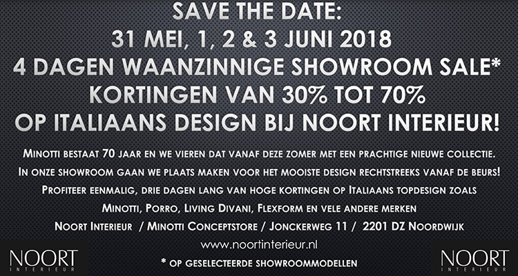 Save The Date: 31 Mei, 1, 2 & 3 Juni Showroom Sale!